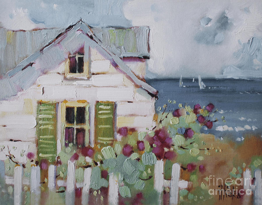 Print Painting - Green Nantucket Shutters by Joyce Hicks