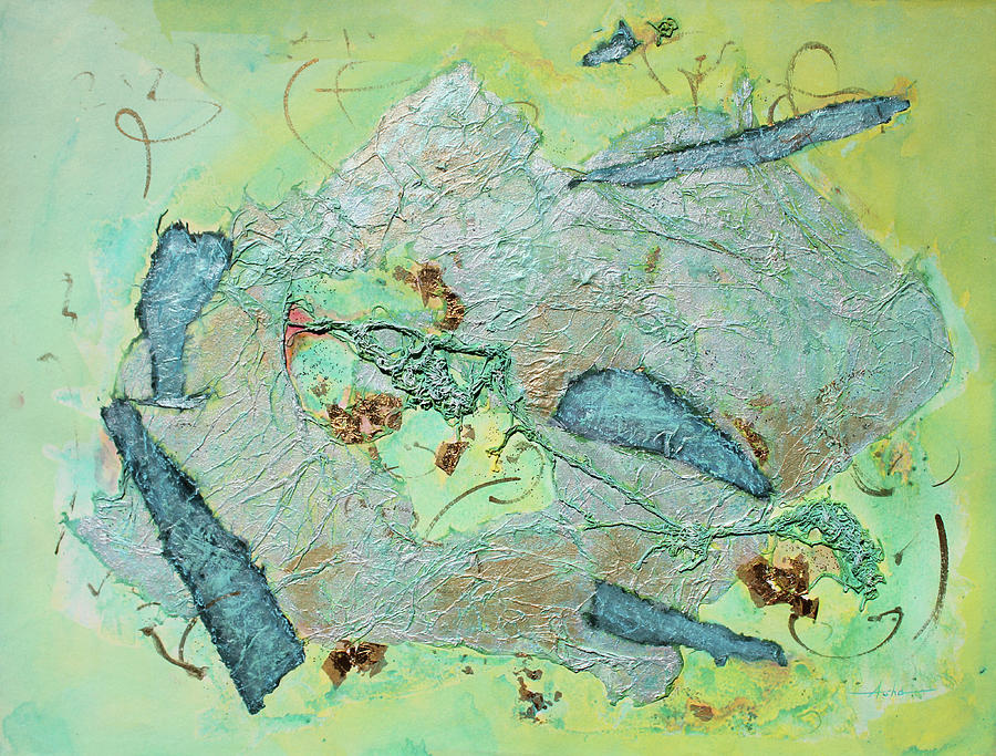 Abstract Painting Painting - Green Of The Earth Plane by Asha Carolyn Young