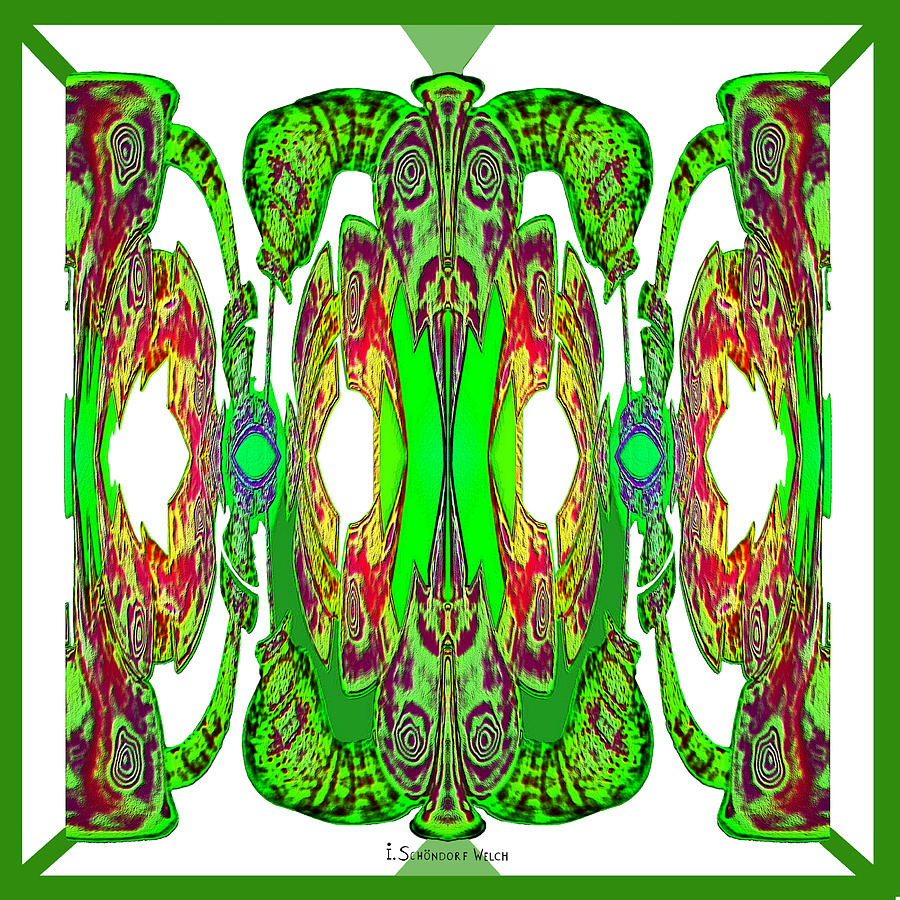 921 Digital Art - Green On White - 921 by Irmgard Schoendorf Welch