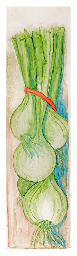Still Life Painting - Green Onions by Elle Smith Fagan