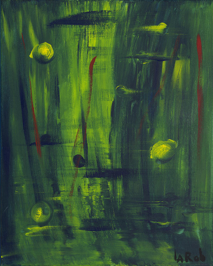 Abstract Painting - Green Peace World by Shirbie LaRob Whitman