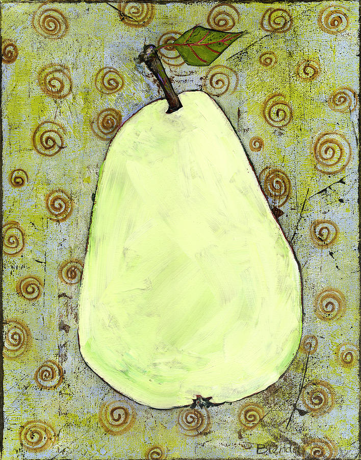 Artistic Painting - Green Pear Art With Swirls by Blenda Studio