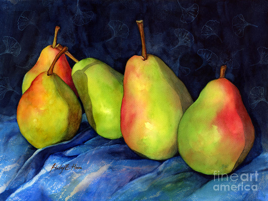 Pear Painting - Green Pears by Hailey E Herrera