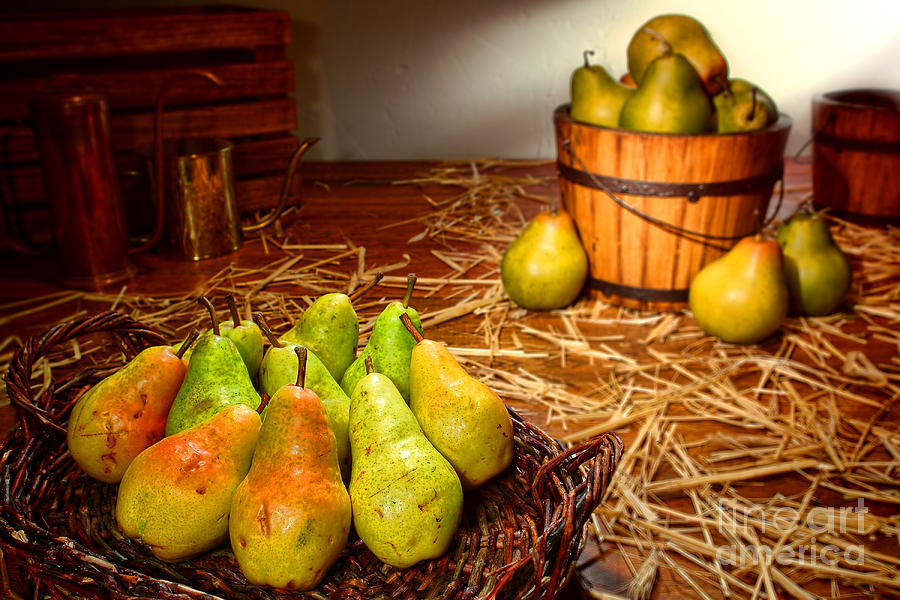 Pears Photograph - Green Pears In Rustic Basket by Olivier Le Queinec