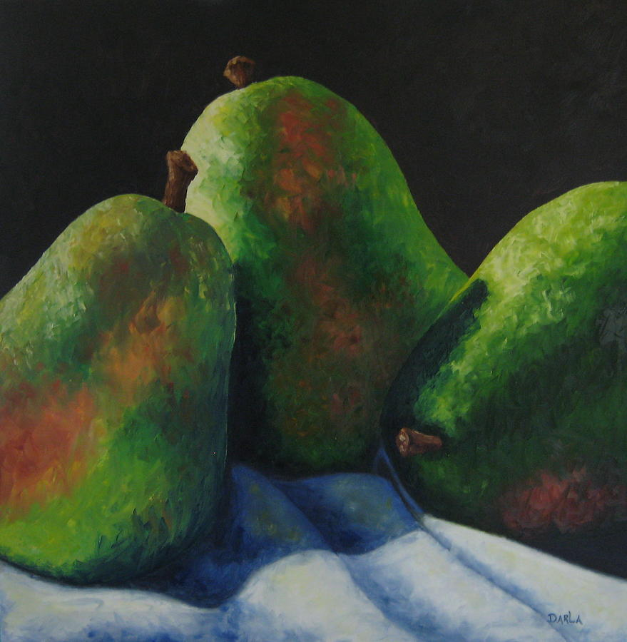 Pears Painting - Green Pears With Shadows Cast by Darla Brock
