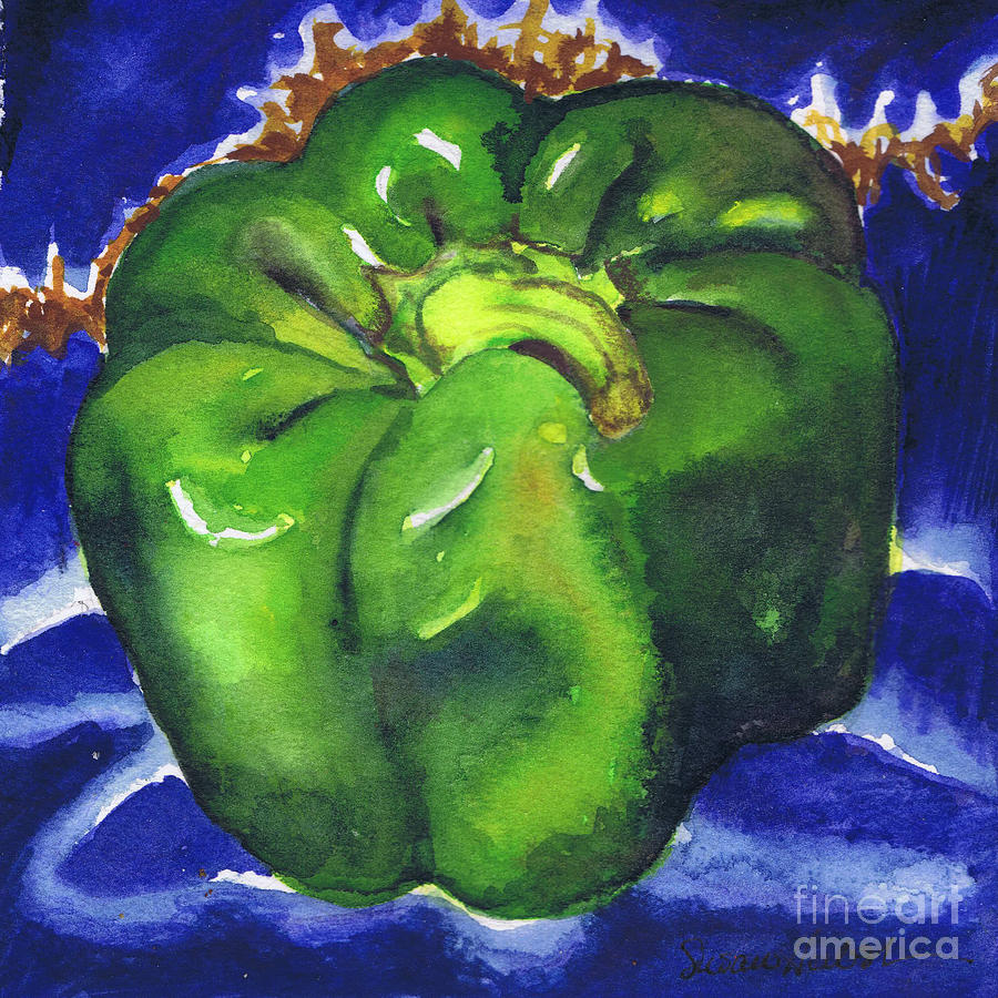 Green Painting - Green Pepper On Blue Tile by Susan Herbst