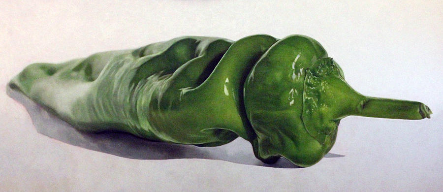 Female Painting - Green Pepper by Toby Boothman