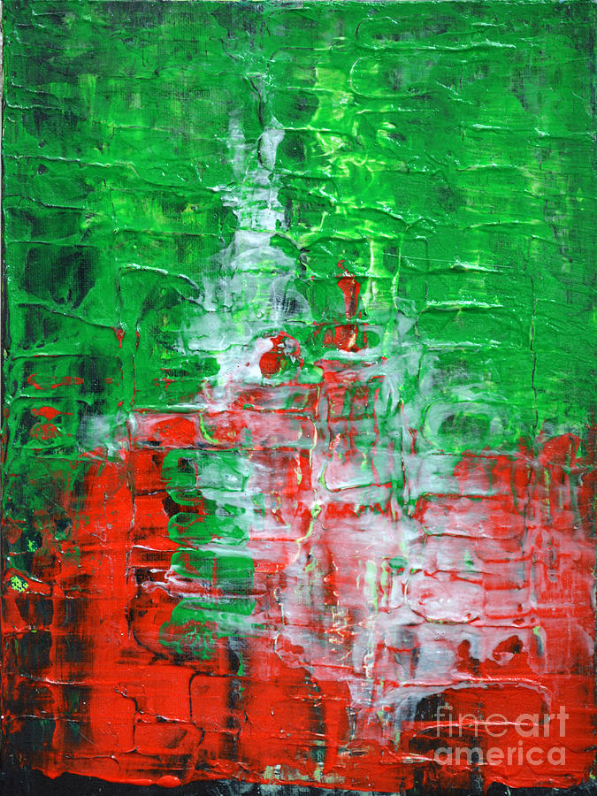 Green Red Abstract Textured Painting Modern Art Strength