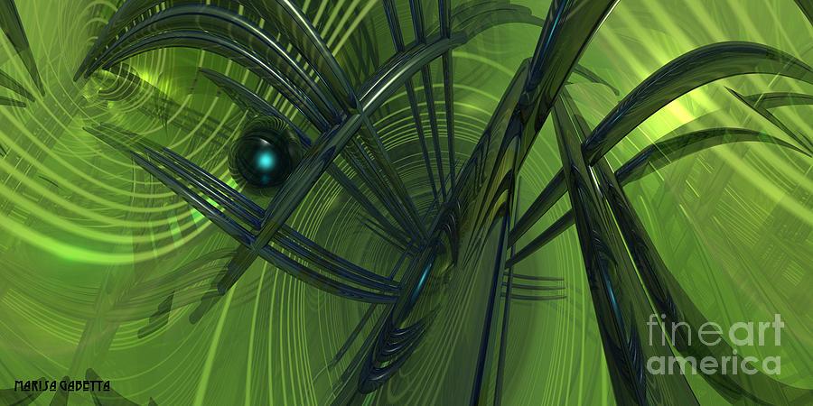 Abstract Digital Art - Green Reflections by Marisa Gabetta