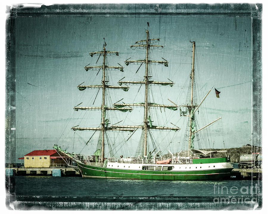 Ship Photograph - Green Sail by Perry Webster