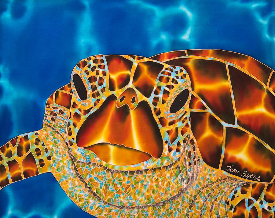 Marine Turtle Painting - Green Sea Turtle by Daniel Jean-Baptiste
