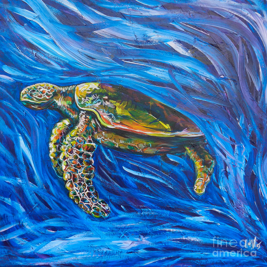 Lovejoy Painting - Green Sea Turtle by Lovejoy Creations