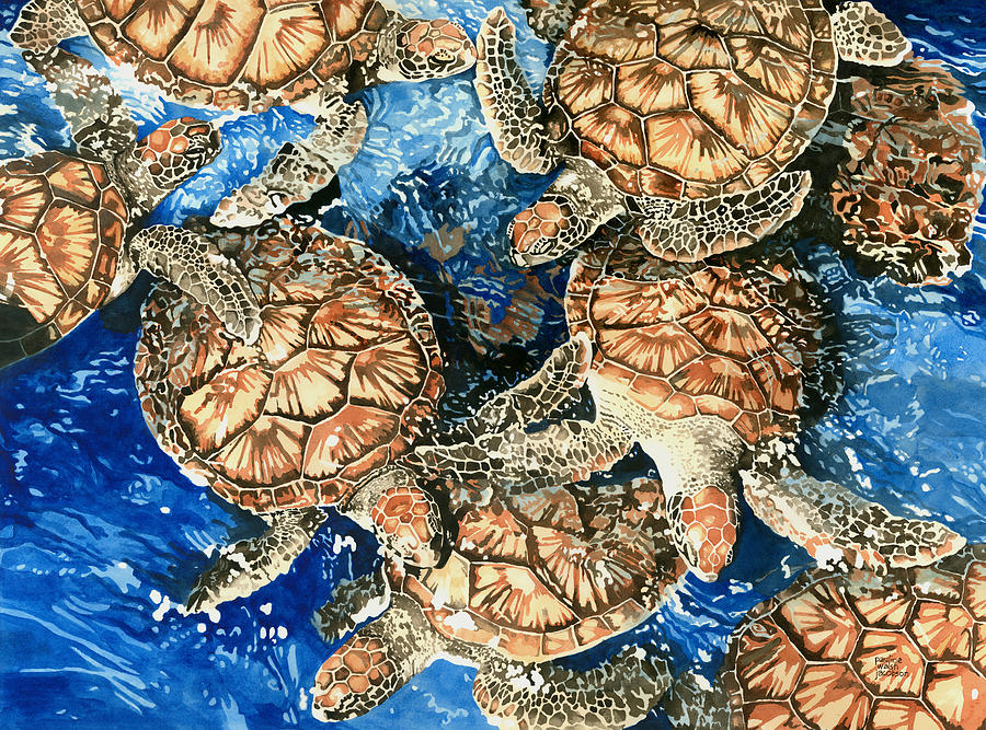 Sea Turtle Painting - Green Sea Turtles by Pauline Walsh Jacobson