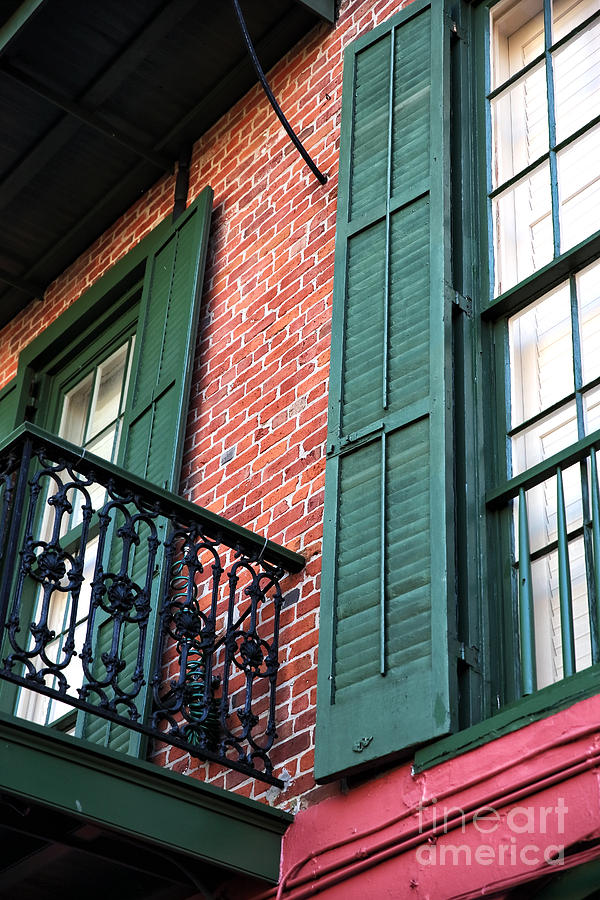 Architecture Photograph - Green Shutters In The Quarter by John Rizzuto