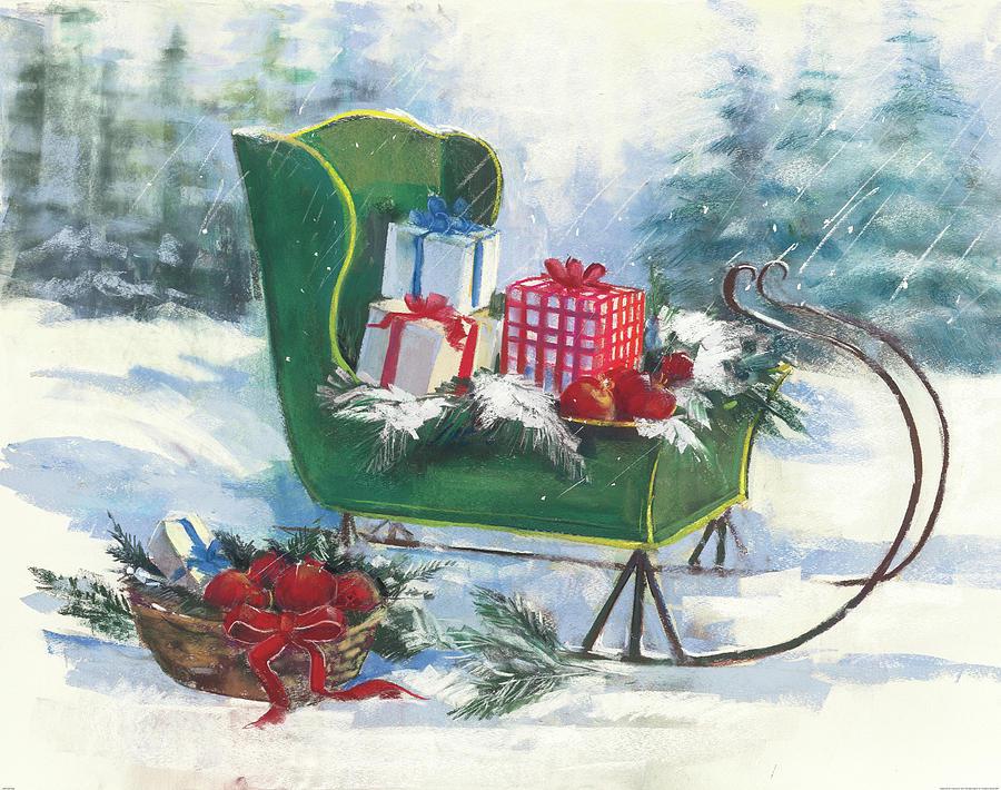 Basket Painting - Green Sleigh by Carol Rowan
