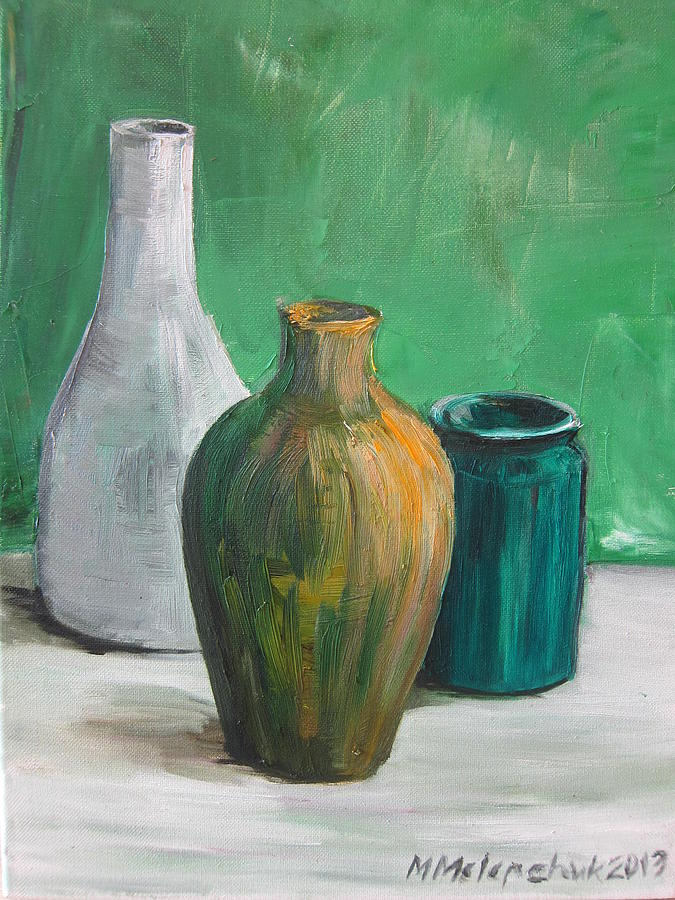 Green Painting - Green Still Life 2013 by Maria Melenchuk