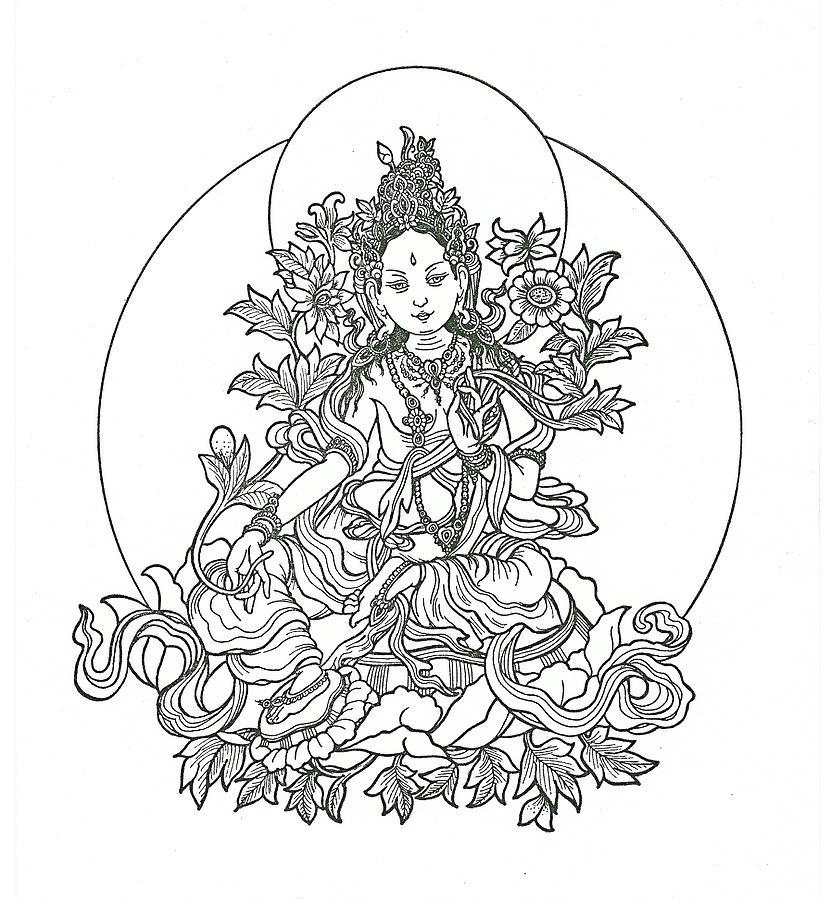 Green Tara Drawing By Karma Moffett