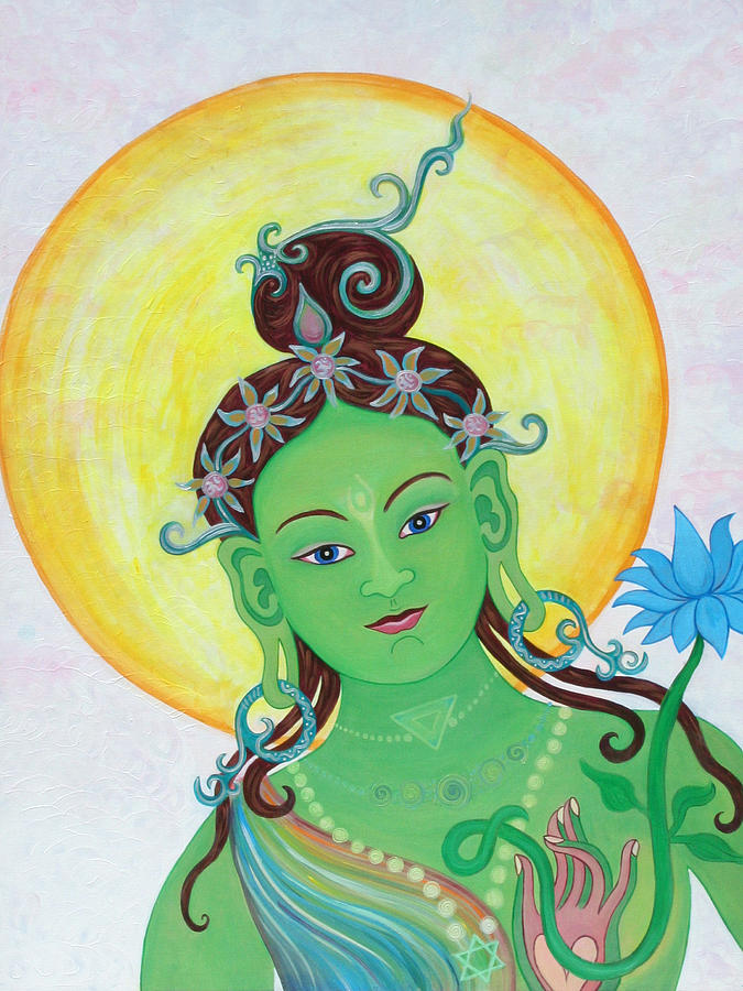 Green Tara Painting - Green Tara by Sarah Grubb