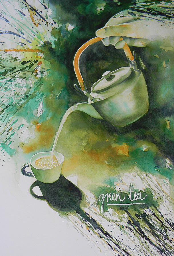 Green Painting - Green Tea by Adel Nemeth