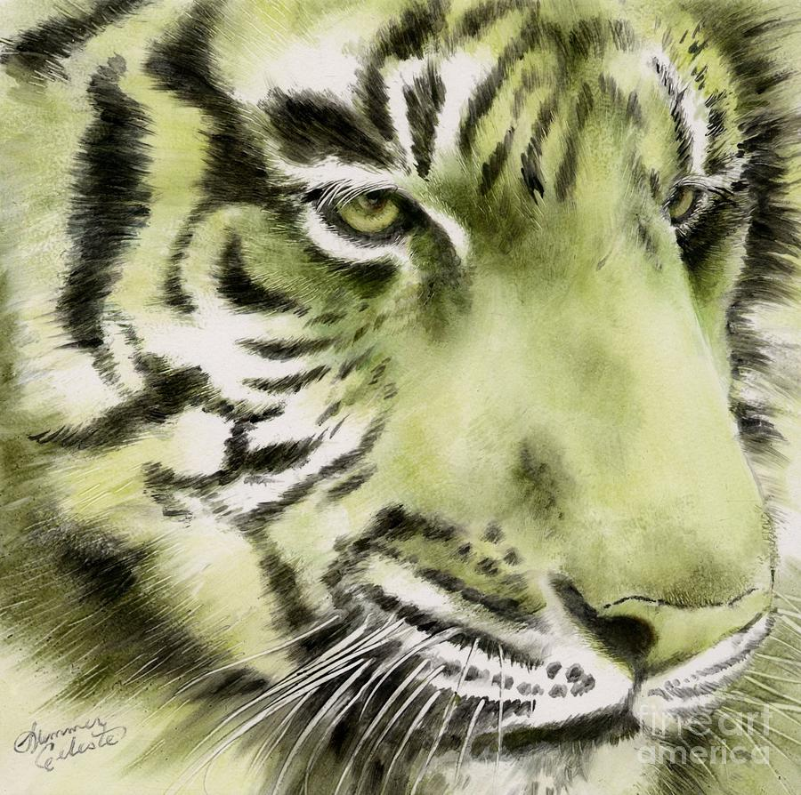 Tiger Painting - Green Tiger by Summer Celeste