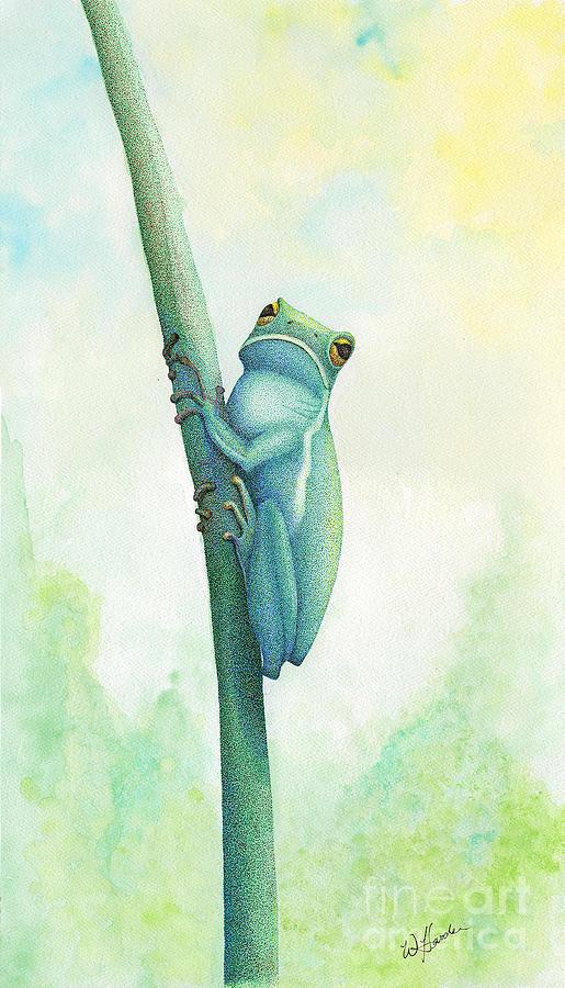 Tree Frog Mixed Media - Green Tree Frog by Wayne Hardee