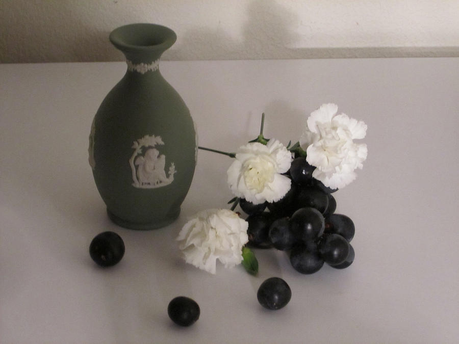 Still Life Photograph - Green Vase Floral With Grapes by Good Taste Art