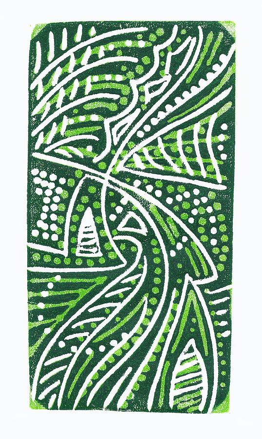 Leaves Drawing - Green White Green by Jennifer Harper