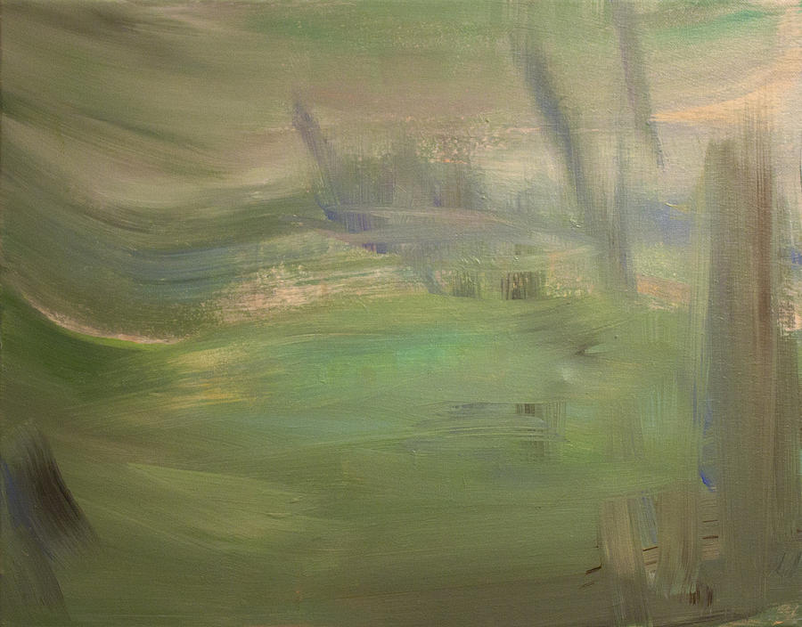 Landscape Painting - Green Wind by Tanya Byrd