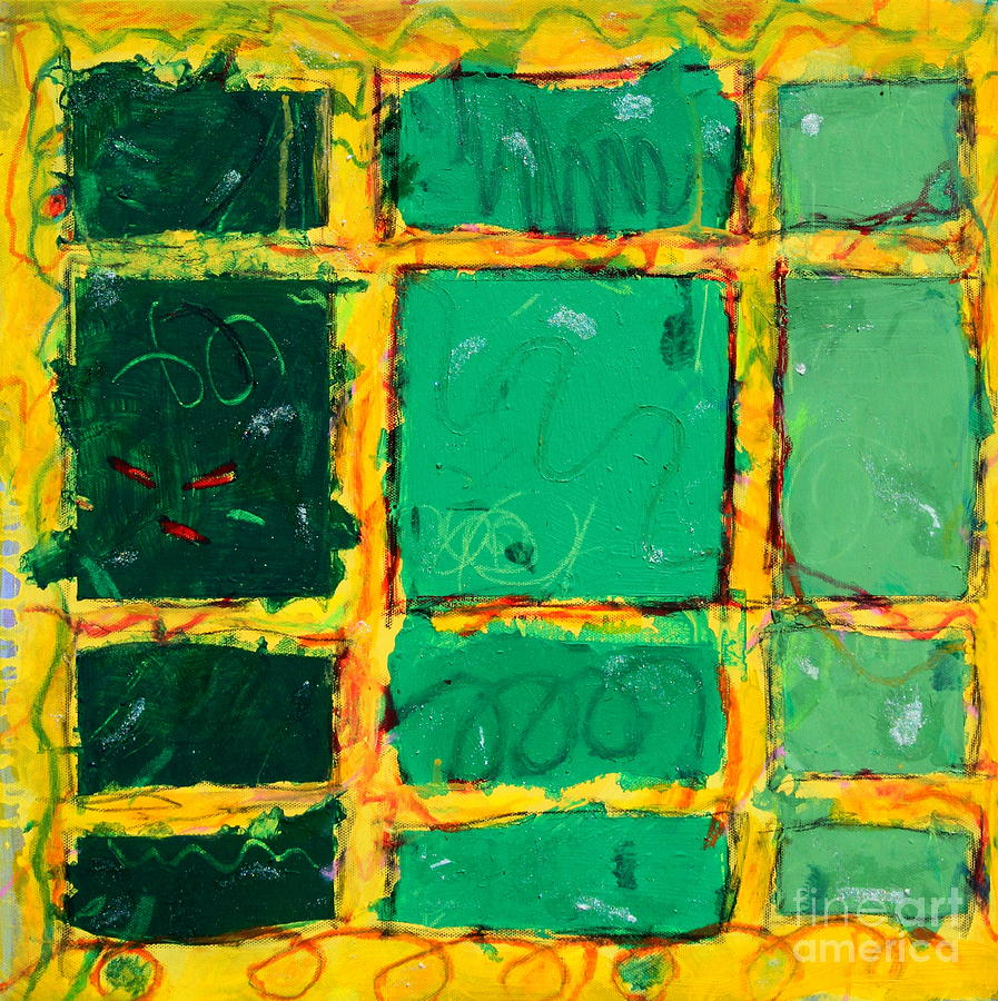 Squares Mixed Media - Green Windows by Kelly Athena