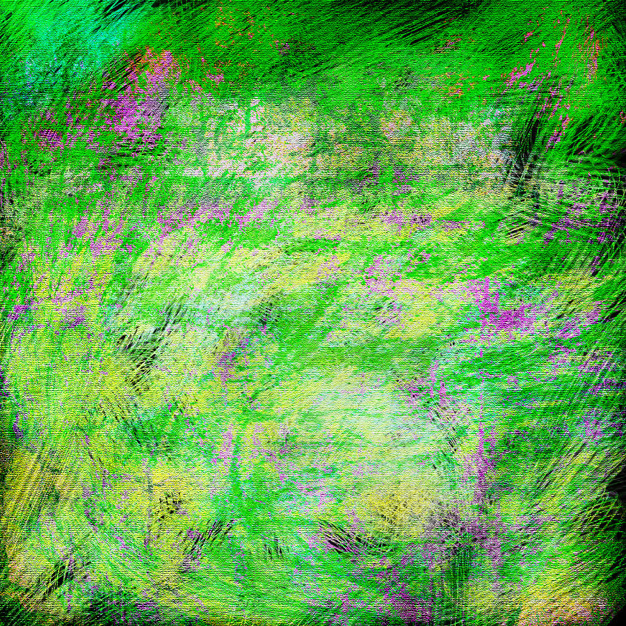 Abstract Mixed Media - Green With Envy Series II by Marianne Campolongo