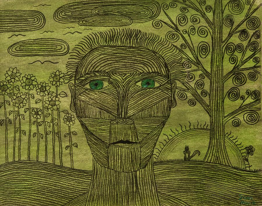 Face Drawing - Green World by Sean Mitchell