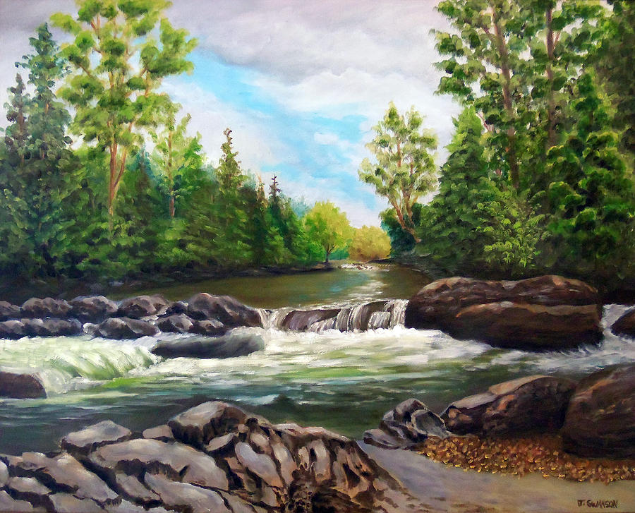 Great Painting - Greenbrier Cascades by Joan Swanson