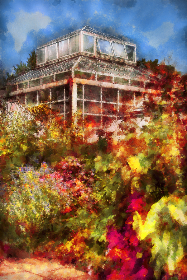 Savad Digital Art - Greenhouse - The Greenhouse And The Garden by Mike Savad