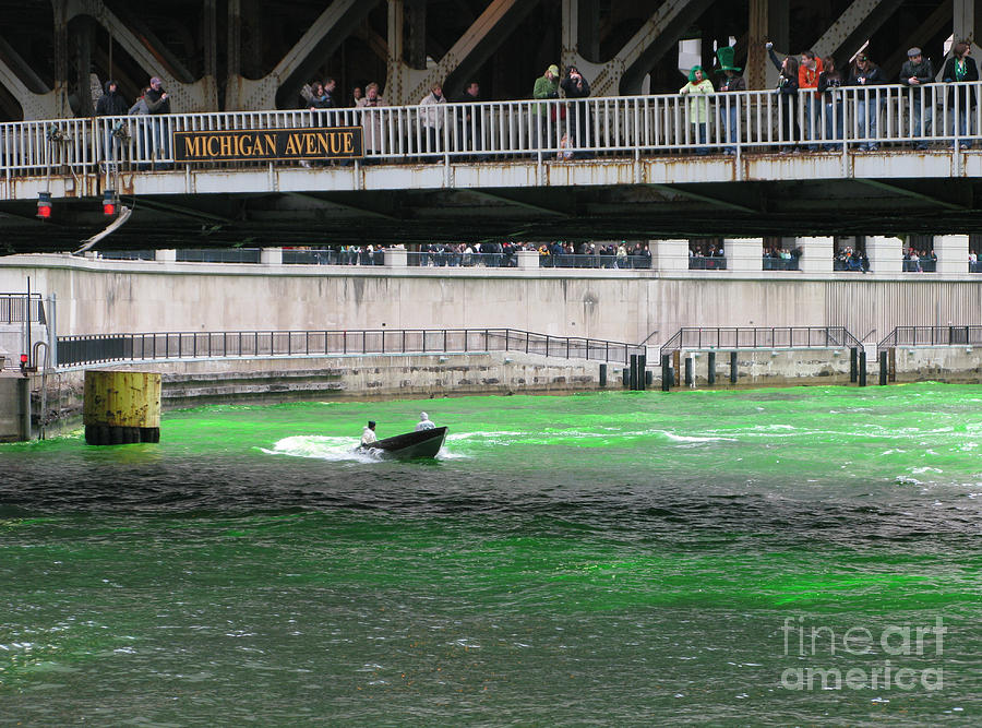 Chicago Photograph - Greening The Chicago River by Ann Horn