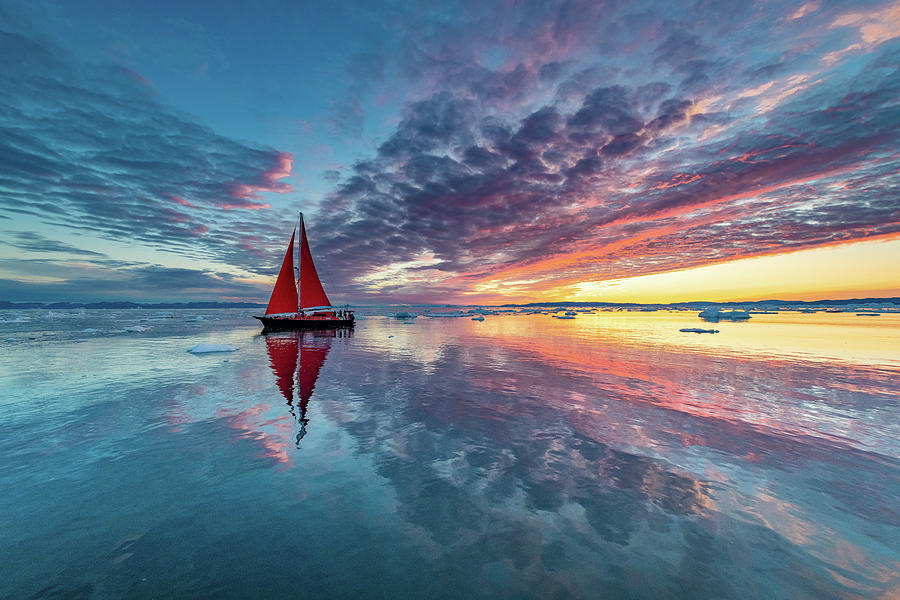 Greenland Fire Sky Photograph by Marc Pelissier