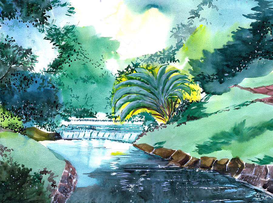 Nature Painting - Greens 1 by Anil Nene