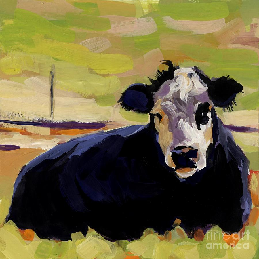 Cow Painting - Greens by Molly Poole