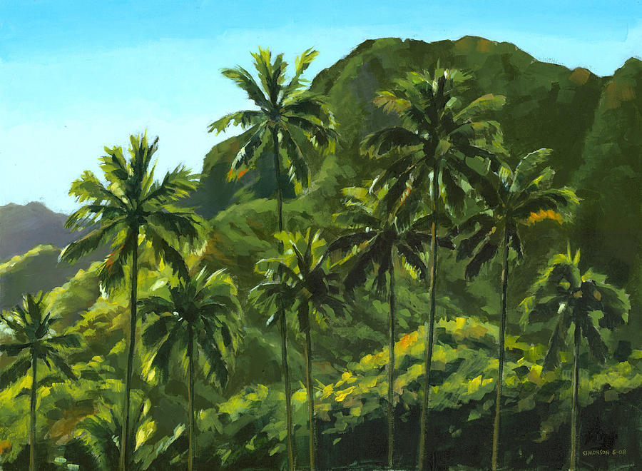 Coconut Palms Painting - Greens Of Kahana by Douglas Simonson