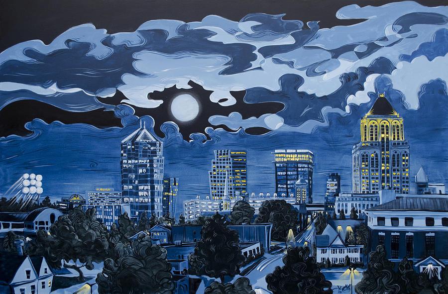 Greensboro Night Skyline by John Gibbs