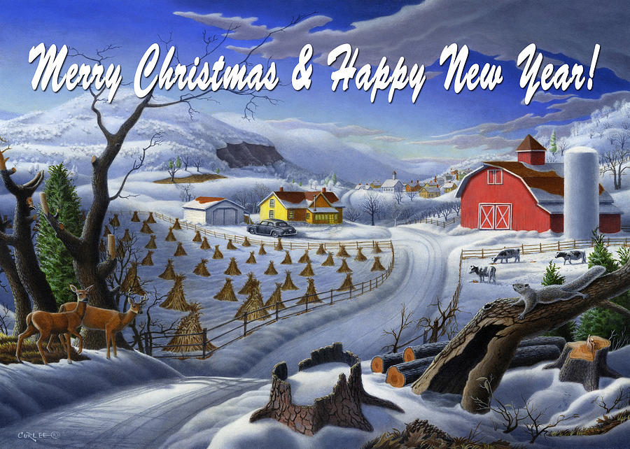 greeting card no 3 Merry Christmas and Happy New Year Painting by ...