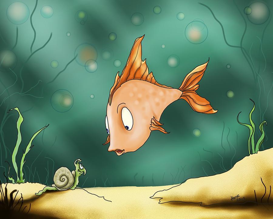 Fish Drawing - Greetings by Hank Nunes