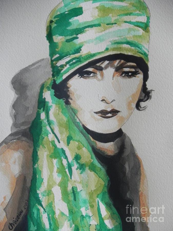 Watercolor Painting Painting - Greta Garbo by Chrisann Ellis