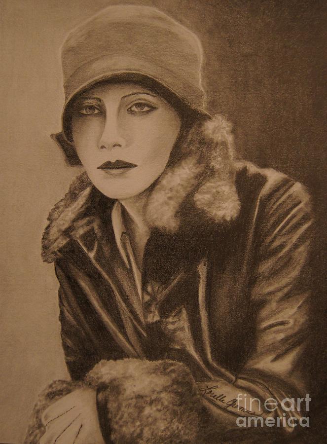 Graphite Drawing - Greta Garbo by Lorelle Gromus