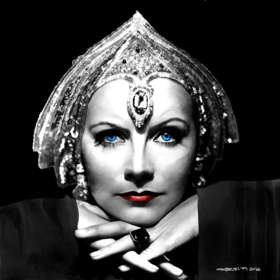 Greta Garbo Digital Art - Greta Garbo Portrait by Gabriel T Toro