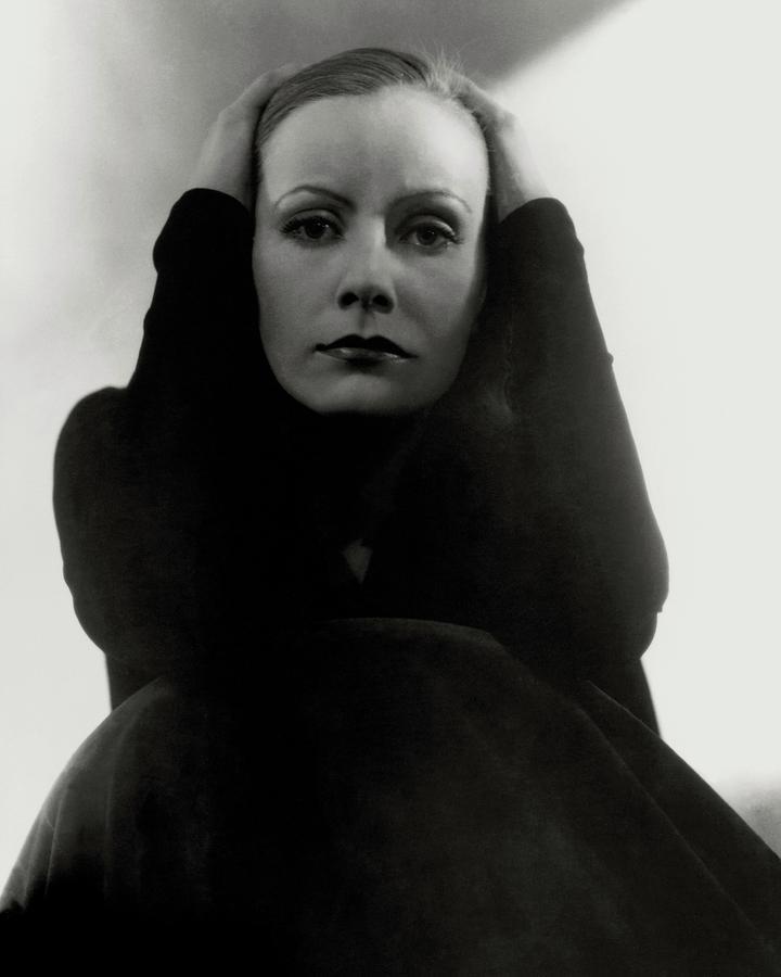 Greta Garbo Wearing A Black Dress Photograph by Edward Steichen