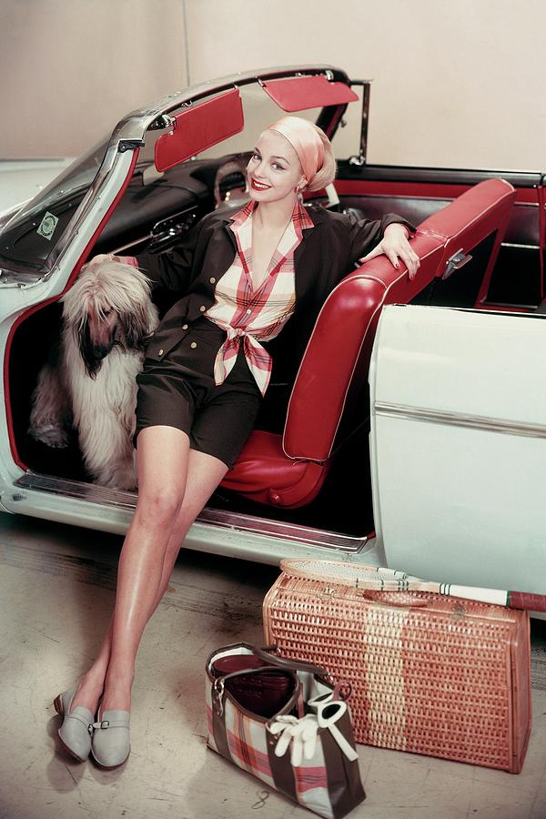 Gretchen Harris In A Car With A Dog Photograph by Frances Mclaughlin-Gill