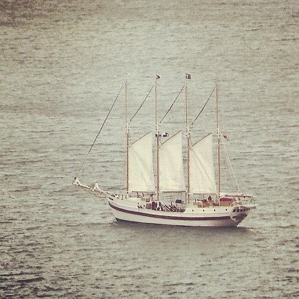 Ship Photograph - Gray Day And A Tall Ship by Jill Tuinier