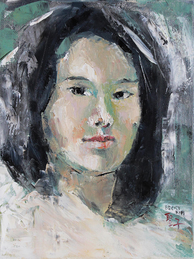 Self Portrait Painting - Grey Hair -self Portait Under Natural Window Light by Becky Kim