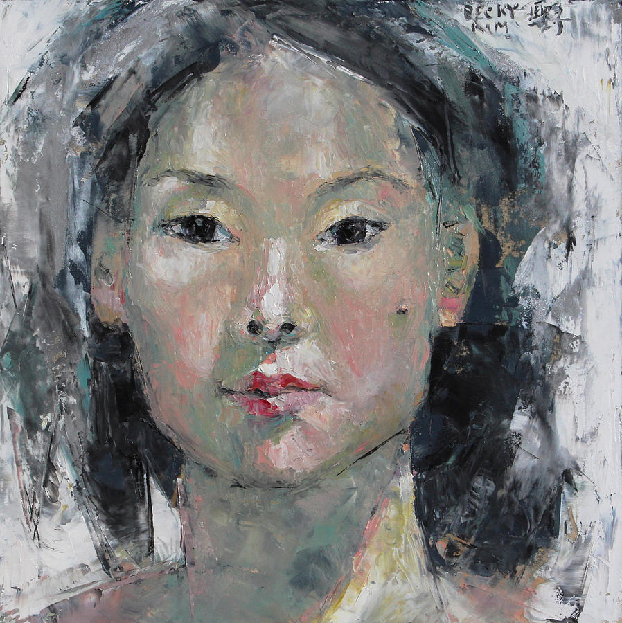 Portrait Painting - Grey Hair - Self Portrait Under The Ceiling Light by Becky Kim