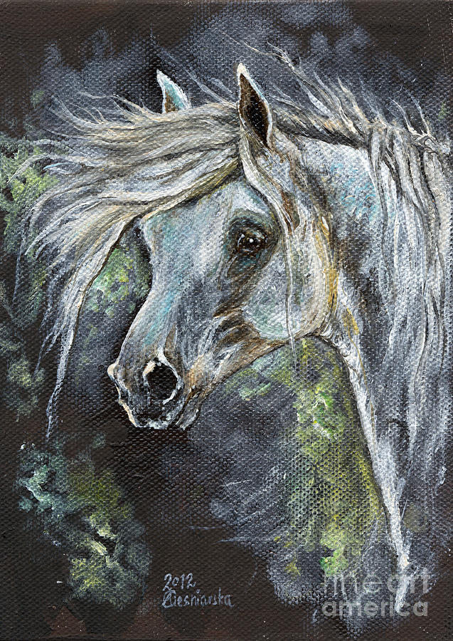 Horse Painting - Grey Pony With Long Mane Oil Painting by Angel Tarantella